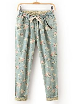 Blue Floral Drawstring Waist Long Denim Jeans