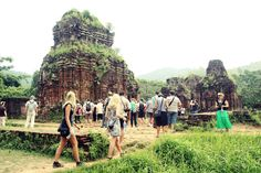 Visitors are visiting My Son Sanctuary in Quang Nam.