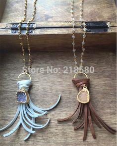 N1505060103 ágata Druzy colgante nudo de la borla de cuero Maxi collar