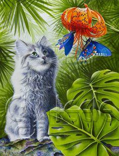 Kiwi--chaton plus douce de la planète--regarde quelques jolis papillons.    Mes impressions giclée emmêlés sont produites individuellement dans mon studio, à laide de pigments darchives sur le document de présentation de poids lourd. Les nattes légèrement texturés, blanc cassés sont main signé et intitulé par moi, lartiste. Chaque impression feutrée est livré dans une enveloppe protectrice de vernis acrylique, avec une fiche dinformation sur les espèces de la faune représentées dans limage…
