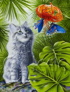 Kiwi -- the worlds softest kitten -- gazes at some pretty butterflies.    My matted giclée prints are individually produced in my studio, using