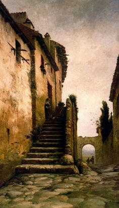 Modest Urgell Inglada (1839 - 1919). Calle. Óleo sobre tela. 148 x 84 cm.