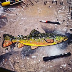 BROOK TROUT painted on lasercut wood. #lasercut #brooktrout #trout #forel #forelle #fishingart #fishart #flyfishing #truite #trucha #painting #illustration by peterperch