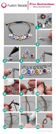 Create this cute Mom's Bracelet with your children's initials and birthstones using fun TierraCast charms!