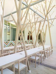 Canteen of Peter Eisenman's Cidade da Cultura de Galicia, designed by spanish design studio Estudio Nomada