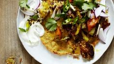 Chickpea pancakes with carrot and cauliflower.