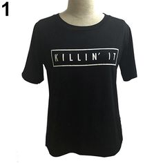 >> Click to Buy << Casual Women KILLING IT Letter Print Cotton Short Sleeve O-Neck T-Shirt Summer Tops Girls Ladies Shorts #Affiliate