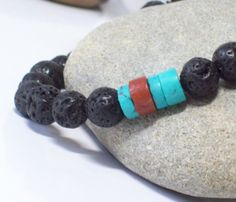 BLACK FRIDAY JEWELRY SALE thru DEC 3rd with COUPON CODE 25FRIDAY for 25% off on purchases over $25 for Handmade Natural Semi Precious Gemstone Jewelry at http://www.riverpebblestonewear.com  - KONA- Lava Men's Bracelet with Turquoise Heishi and Bauxite Trade Focal beads