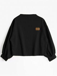 Badge Patched Lantern Sleeve Sweatshirt - BLACK ONE SIZE
