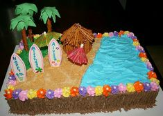 Luau Beach Cake This is a buttercream covered cake with fondant and gumpaste accents and tiki hut made of a cupcake covered with pretzels. Luau Party Cakes, Luau Birthday Cakes, Birthday Sheet Cakes, Tiki Party, 9th Birthday, Beach Party, Moana Birthday, Birthday Ideas, Birthday Parties