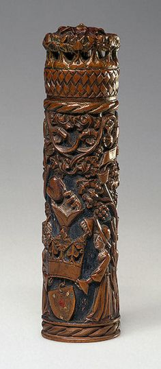Needle-Case with Love Symbolis , 15th century Flanders, in wood.