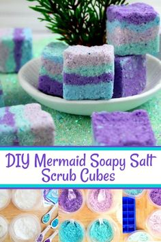 DIY Mermaid Soapy Salt Scrub Cubes - Super fun bath and body DIY! DIY Mermaid Soapy Salt Scrub Cubes www. Diy Body Scrub, Diy Scrub, Homemade Beauty, Diy Beauty, Beauty Hacks, Diy Spa Tag, Zucker Schrubben Diy, Cubes, Sugar Scrub Diy