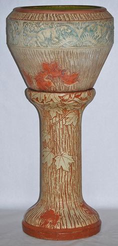 Roseville Pottery - Sylvan - Jardiniere & Pedestal 568-12 - from Just Art Pottery