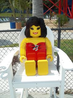 This LEGO sunbather model can be found inside LEGOLAND Water Park at LEGOLAND Florida