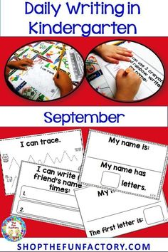This packet of printables is a quick write warm-up activity for your Kindergarten students. These booklets will allow students to write independently every day. This September resource practices prewriting skills, writing their name, writing a friend's name, word parts and letters in their names. These booklets compliment Morning Message, Daily News, Shared/Guided Writing, Writer's Workshop or any other writing experience you provide for your students. #kindergartenwriting