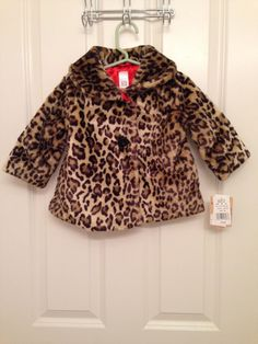NWT Carters faux fur leopard coat jacket red lining retails for $70 #Dress