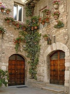 Oh could you imagine?! <3  wood doors, cobblestone walls & potted plants