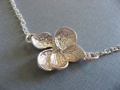 Silver Hibiscus Flower Necklace Everyday Wear by DevinMichaels