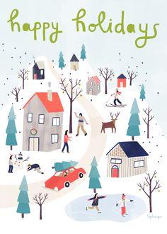Portfolio of illustration work by Sophie Dufresne, a. Christmas Time Is Here, Noel Christmas, Christmas Design, Little Christmas, Christmas Themes, Winter Christmas, Vintage Christmas, Christmas Greetings, Illustration Noel