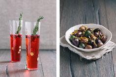 Cranberry-Prosecco Fizz + Citrus-Marinated Olives (Photos by Signe Birck)