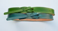 Lombardi Leather Buckle-Less Belt  Apple Green & St. Barts Blue www.lombardileather.com