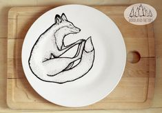 Sleeping Fox - Big Dinner Plate - hand illustrated quirky wild animal funny cute dish forest woods fauna present gift cartoon christmas