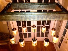 Mason Jar Chandelier - Mason Jar Lighting - Mason Jar Fixture- Edison Bulb Chandelier-Reclaimed Wood- Upcycled Wood