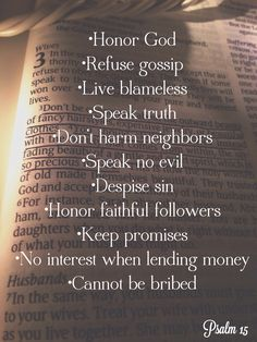 I want to live out this list! 2014 resolutions! Psalm 15
