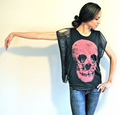 Trash To Couture: DIY Fringe Sleeve/Seam Tshirt. Great for making those tight shirts wearable.