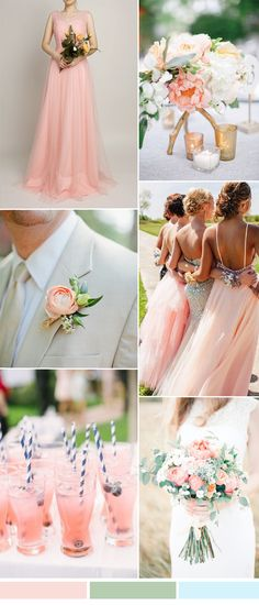 pink and green wedding color ideas and bridesmaid dresses for 2016 weddings