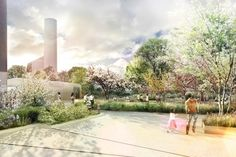 Zugang zum Park Architecture Graphics, Urban Architecture, Space Architecture, Landscape Drawings, Landscape Paintings, Landscape Design, Rendering Techniques, Photoshop Rendering, Architecture Visualization