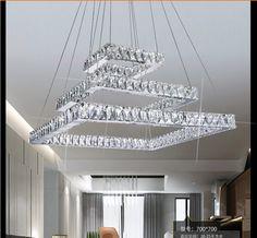 Modern dimmer square k9 Crystal LED Chandelier Fixture Crystal Lustre led Light sitting room Chandeliers L/W 50/60/70cm
