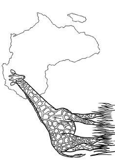 A colorier, un dessin représentant le continent africain et une belle girafe