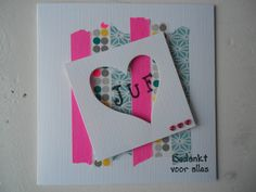Bedankt juf! Een leuke kaart om cadeau te doen! Diy For Kids, Crafts For Kids, Arts And Crafts, Paper Cards, Diy Cards, Pretty Cards, Valentine Day Cards, Little Gifts, Homemade Gifts