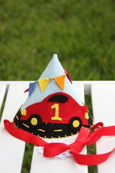 For a party hat this is kind of cute. Birthday Hats, 2nd Birthday, Race Car Party, Race Cars, Cardboard Car, Party Hats, Hot Wheels, Banners, Festive