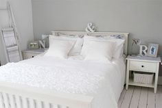 With slightly lighter walls and espresso furniture. White Gray Bedroom, All White Room, White Rooms, White Painted Wood Floors, Dream Master Bedroom, Garden Route, Grey Walls, Beautiful Bedrooms, Bedroom Decor