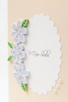 Elegant Wedding Card Quilling Quilled White by PaperParadisePL