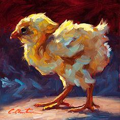 Single Chick by Cheri Christensen Oil ~ 6 x 6