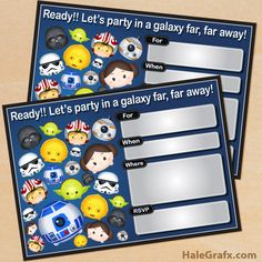FREE printable Star Wars Tsum Tsum invitations
