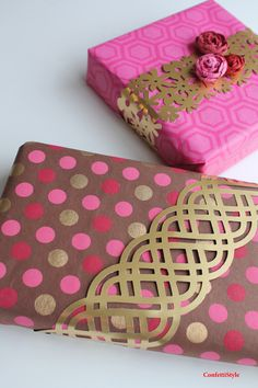 Creative Gift Wrap by ConfettiStyle. Paper Lace band using Fiskars AdvantEdge Punch system.