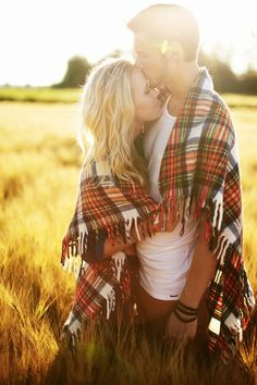 IF ONLY WE HAD A PLAID BLANKET!! Engagement photo.