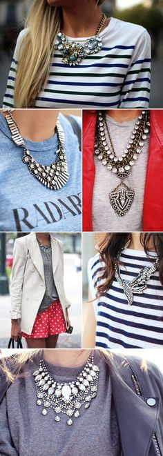Glitz - statement necklaces with plain t-shirts