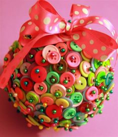 Button Covered Ornament! | christmas | Pinterest