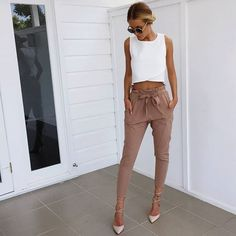 Edgy tanned pants #muraboutique http://www.muraboutique.com.au/collections/bottoms/products/run-with-me-pants?variant=16591206983