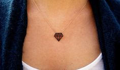 Black Diamond Pendant Necklace. Rose Gold by JewelryFromChakarr $54.00