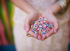 Wedding Send-Off Ideas | Intimate Weddings - Small Wedding Blog - DIY Wedding Ideas for Small and Intimate Weddings - Real Small Weddings. Love the photo idea.... Purple sprinkles?!
