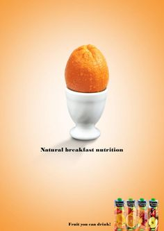 Brand: Minute Maid Communication objective: awareness of their juice range Headline: Natural Breakfast Nutrition The illustration works with the headline because it combines 2 known morning associations: eggs and orange juice which work with the 'breakfast' push they are trying to make. Also, oranges and eggs are natural foods, so they both work with the 'natural' element of the headline.