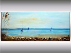 Acrílico+pintura+abstracta+paisaje+veleros+arte+por+EttisGallery