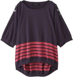 Cotton Angora pullover / ShopStyle(ショップスタイル): Sacra コットンアンゴラボーダープルオーバー