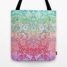 Soft Pastel Rainbow Doodle Tote Bag